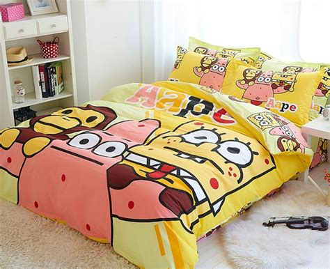 Bedcover Set Spongebob 3d 100 cotton 3 4pcs spongebob fitted sheets duvet cover sets bedding set ink