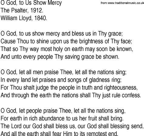 lyrics of mercy hymn and gospel song lyrics for o god to us show mercy by