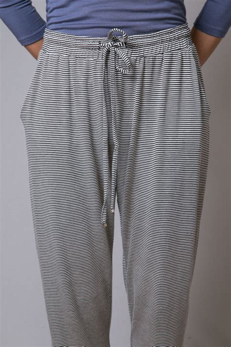 Hazel Pant 1 black white stripe pant lounge hazel