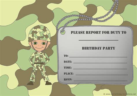 army birthday card template 14 printable birthday invitations many themes