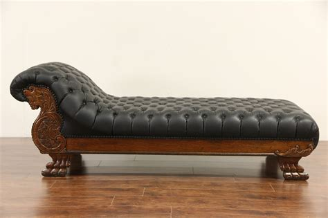 psychiatrist couch furniture sold victorian lion carved 1900 antique oak chaise
