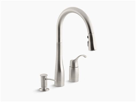 Simplice Pull Down Kitchen Sink Faucet W Soap Dispenser Kohler Kitchen Sink Soap Dispenser