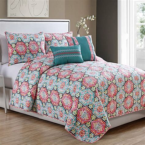 coral and teal comforter javea 5 piece quilt set in coral teal bed bath beyond
