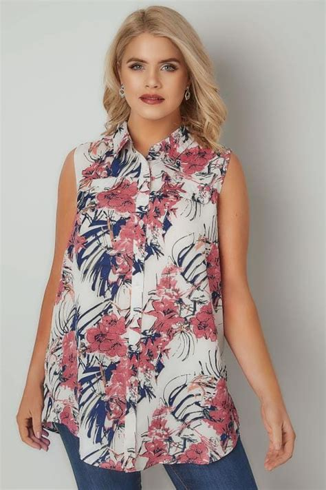 30769 Gray White Two Side ivory pink floral print longline sleeveless shirt plus