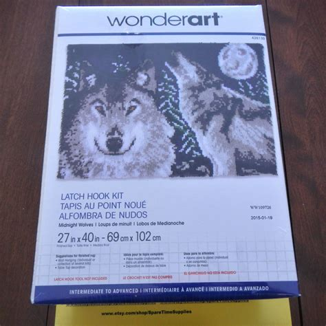 wolf latch hook rug kits 426130 midnight wolves latch hook kit approx 27 x 40 1 kit from
