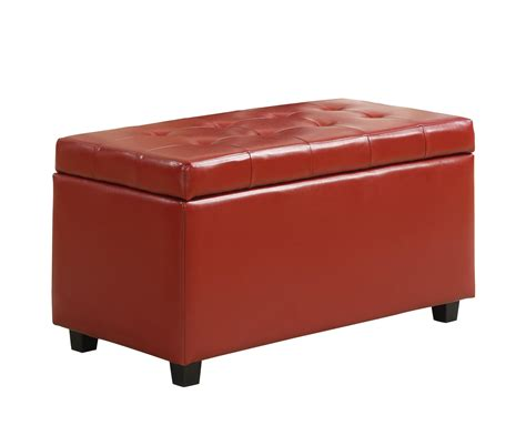 Amazon Com Simpli Home Cosmopolitan Faux Leather Rectangular Leather Storage Ottoman