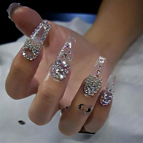 diamond pattern nail art custom nails design crystal and charms daily charme