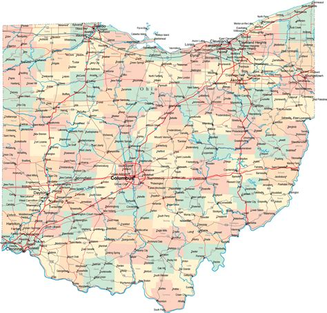 ohio on a map of the united states printable map of state map of ohio state map free