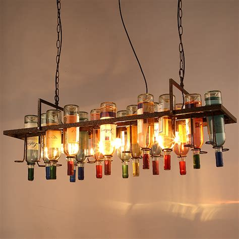 Restaurant Chandelier American Industrial Vintage Glass Wine Bottle Chandelier L Nordic Lustre Modern Dining