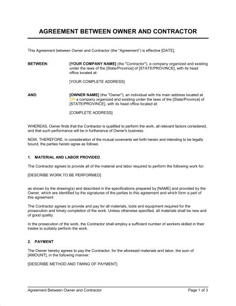 agreement between owner and contractor template sle