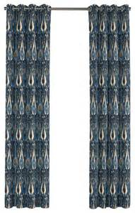 Blue Ikat Curtains Modern Navy Blue Ikat Grommet Curtain Eclectic Curtains By Loom Decor