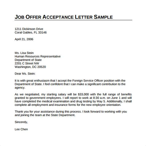 Employment Letter Requirements Sle Offer Acceptance Letter 9 Free Documents In Pdf Word