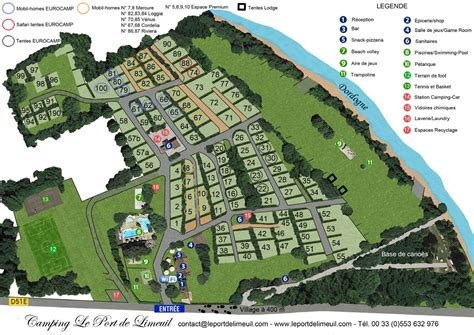 Camping Le Port de Limeuil Map of the campsite