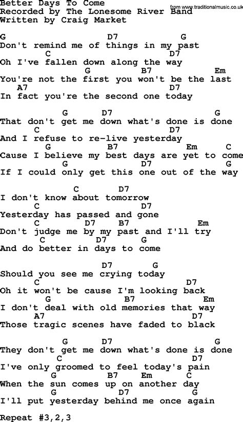 days are chords better days to come bluegrass lyrics with chords