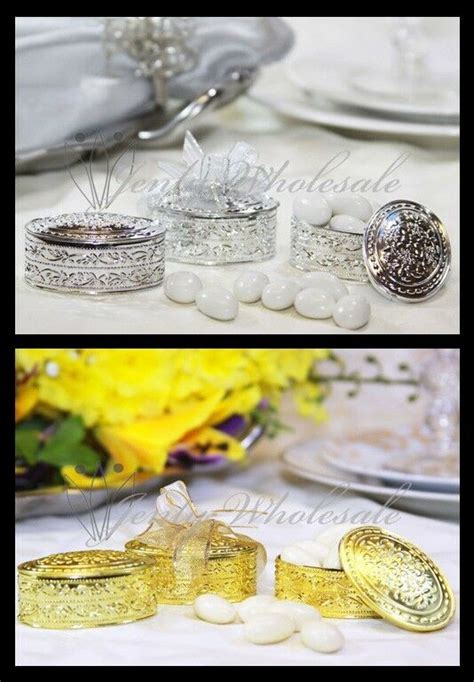 12 Gold   Silver Oval Plastic Trinket Box Wedding Favor
