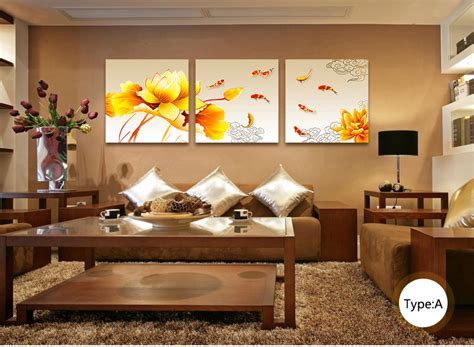 paintings for living room feng shui buy finished product nine fish feng shui painting triptych frameless painting living room