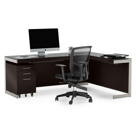 Modern Espresso Desk Bdi Sequel Espresso L Desk Modern Office Set Eurway