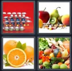 fruit 7 letters 4 pics 1 word answer for pills fruit orange vegetables