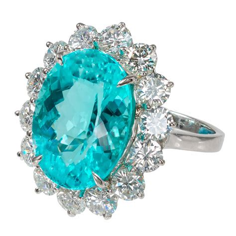 Tourmaline Paraiba blue paraiba tourmaline platinum ring at 1stdibs