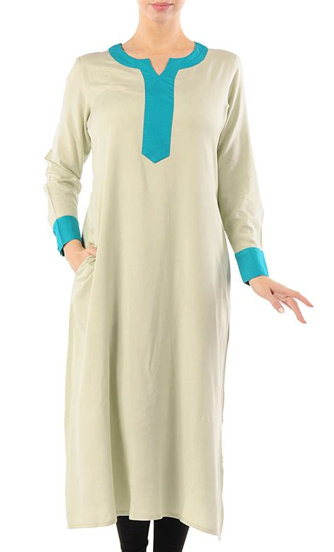 Sakivazra Color Block Tunic Muslim Blouse color block rayon tunic