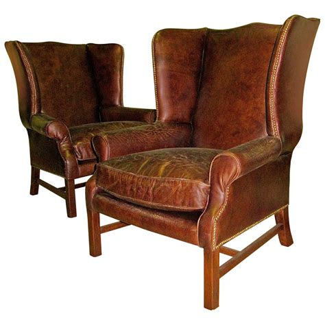 leather wing back chairs two george iii style wingback chairs with distressed