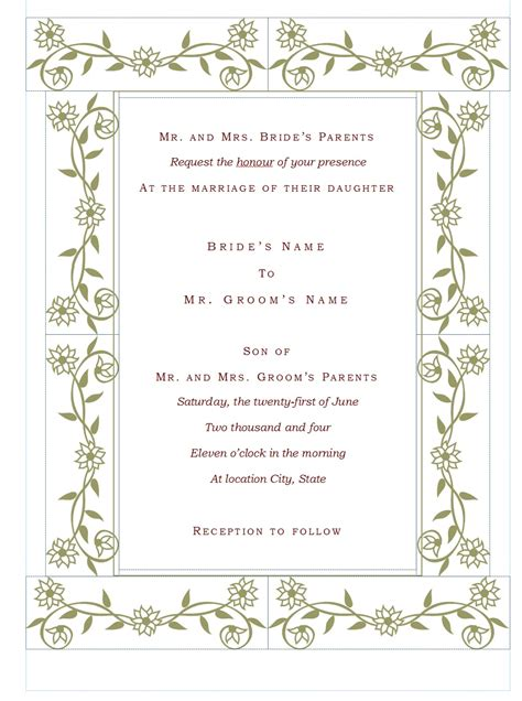 Wedding Wedding Invitation Templates In Wedding Invitation Template