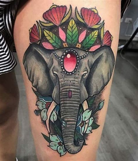 elephant thigh tattoo elephant designs best ideas meaning