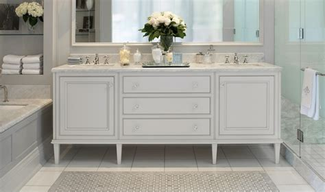 white and grey bathroom with traditional basin bathroom double sink console transitional bathroom downsview