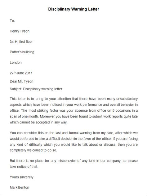 disciplinary letter format 33 hr warning letters free sle exle format