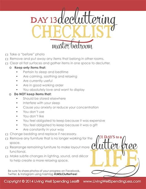 declutter bedroom checklist 31 days to a clutter free life master bedroom day 13