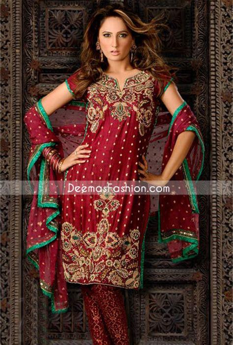 traditional pakistani dress maroon banarsi churidar suit