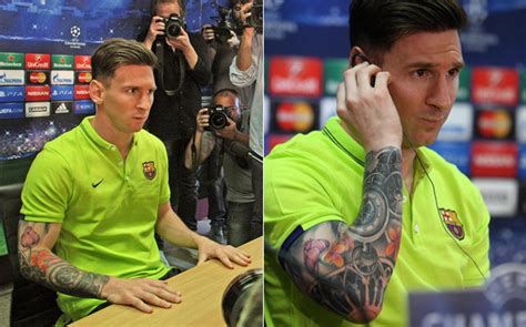 lionel messi sleeve tattoo lionel messi s new shows ink in press