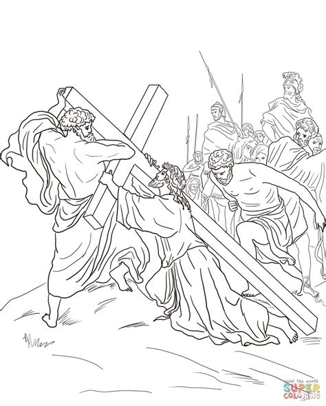 coloring pages of jesus carrying the cross fifth station jesus is helped to carry his cross