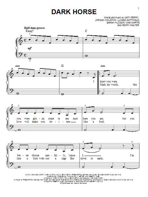 printable lyrics to dark horse dark horse sheet music by katy perry easy piano 152777