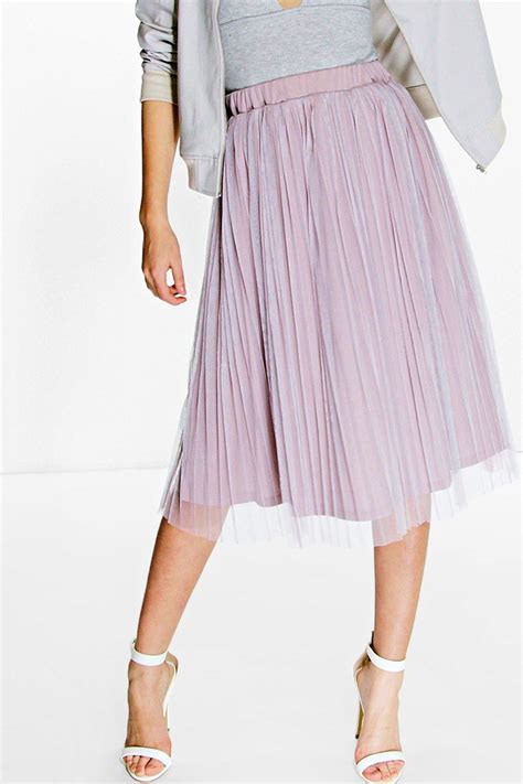 boohoo womens boutique pleated tulle midi skirt in