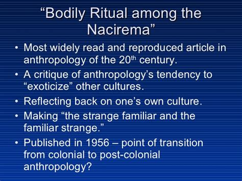 Ritual Among The Nacirema Essay by Sc2218 Lecture 2 2008a