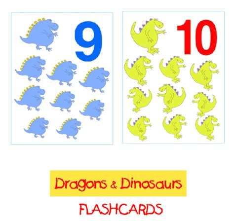 printable dinosaur numbers dragons dinosaurs flashcards 1 10 math arithmetic