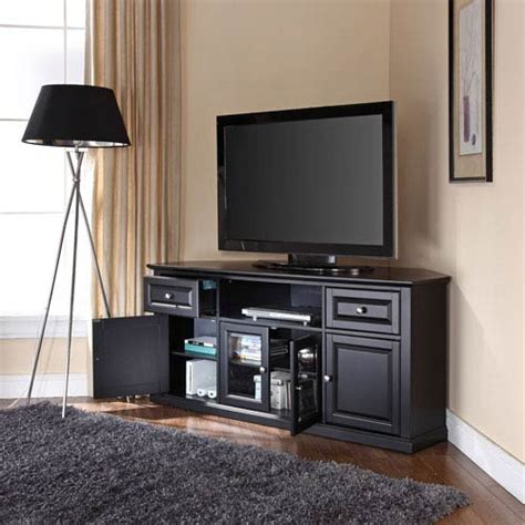 inch tv stand black corner inspirations and small for 60 inch corner tv stand in black crosley furniture corner