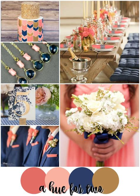coral peach navy and gold summer wedding colour scheme