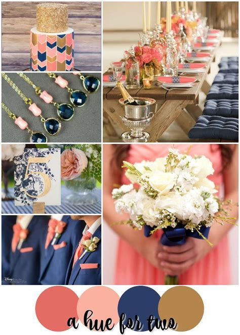 Coral, Peach, Navy and Gold Summer Wedding Colour Scheme