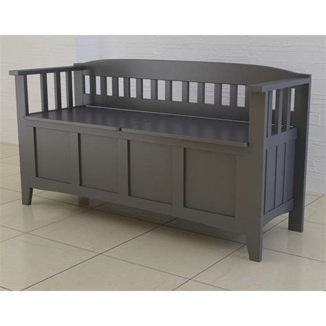 bench chest storage wood storage bench entryway modern accent gray hallway