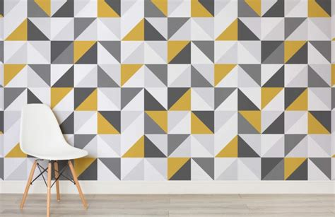 Yellow Livingroom by Yellow And Grey Abstract Geometric Wallpaper Murals