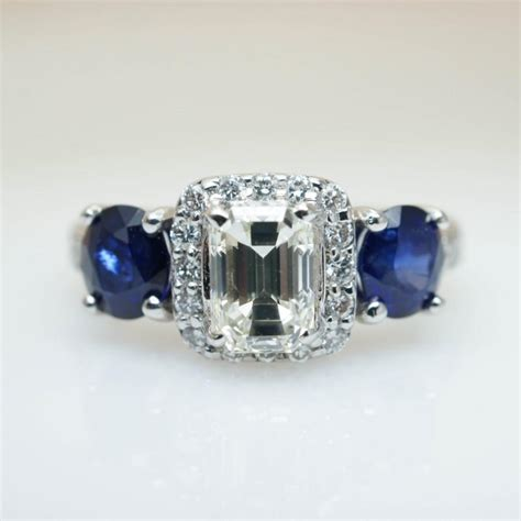 87 antique sapphire blue wedding ring set for