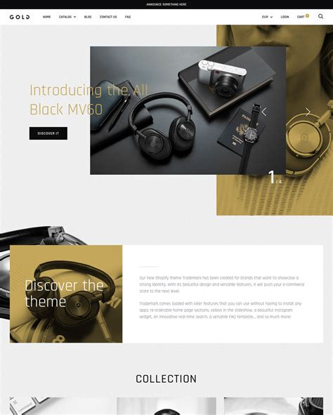 shopify event themes gold theme trademark ecommerce website template