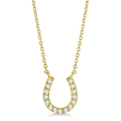 pave set horseshoe pendant necklace 14k yellow