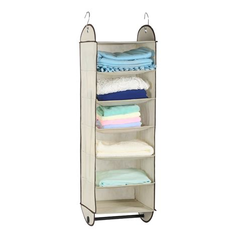 hanging organizer foldable 6 shelf fabric hanging closet organizer storage
