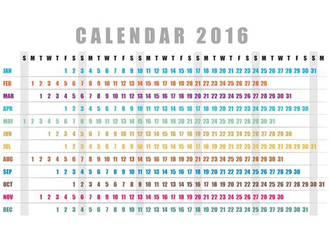 design vector calendar 2016 horizontal calendar 2016 vector download free vector art