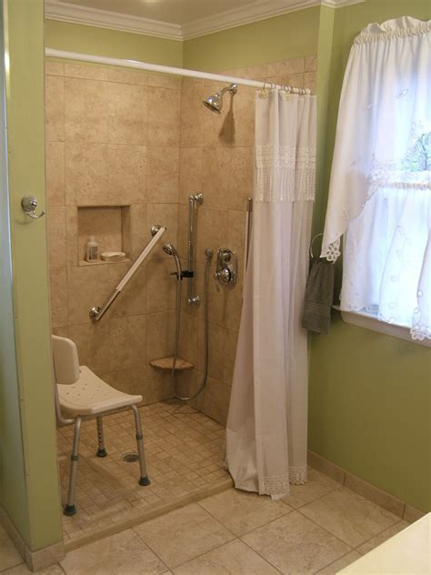 handicap accessible shower Bathroom Traditional with