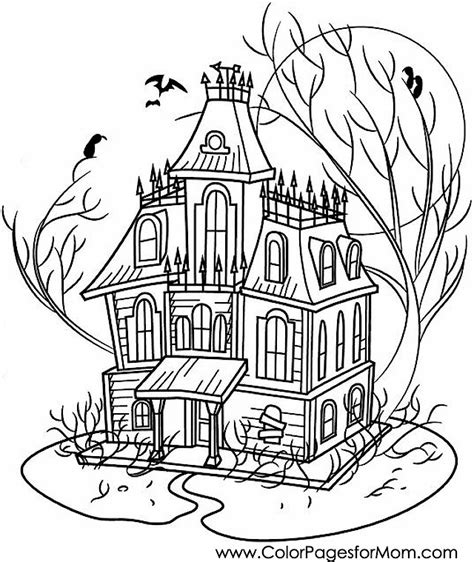 advanced coloring pages halloween haunted house coloring page