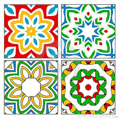 Moorish Design by Four Spanish Tile Patterns Royalty Free Stock Photo